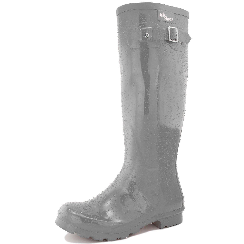 DailyShoes Women's Knee High Round Toe Rain Boots