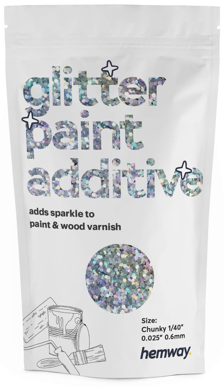 """Hemway Glitter Paint Additive Chunky 1/40"""" 0.6mm Emulsion/Acrylic Water Based Paints Wall Ceiling 100g / 3.5oz (Silver Holographic)"""