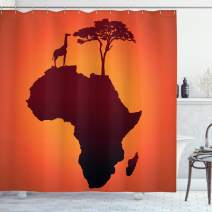 """Ambesonne African Shower Curtain, Safari Map with Continent Giraffe and Tree Silhouette Savannah Wild Design, Cloth Fabric Bathroom Decor Set with Hooks, 75"""" Long, Orange Brown"""