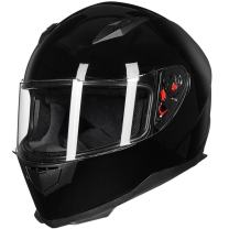 ILM Full Face Motorcycle Street Bike Helmet with Removable Winter Neck Scarf + 2 Visors DOT (L, Gloss Black)