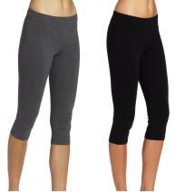 ABUSA Cotton Yoga Capri Pants Women's Tummy Control Workout Leggings Non See-Through Fabric