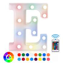 ZRO LED Letter Lights 16 Colors-Changing, 3D Night Lamp 26 Alphabet A-Z LED Marquee Sign with Remote Control for New Year Eve Valentine's Day Home Decor Birthday Party Wedding Bedroom Wall Decor (E)