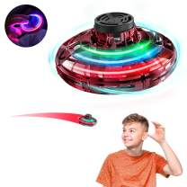 Flynova Hand Operated Drone for Kids Toddlers Adults - Hands Free Flying Mini-Drone Helicopter,UFO Drones Flying Saucer Toy with 360° Rotating and Shinning LED Flying Ball Toys(Red)