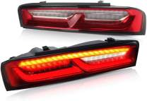 VLAND Full LED Tail Lights for [ Camaro Coupe 6th gen 2016 2017 2018 ] with Sequential Turn Signal DRLs Rear Tail Lamp Assembly YAB-CMR-0278H (RED)