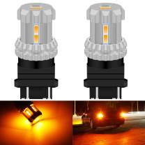 KATUR 3157 3156 3057 4157 T25 LED Bulbs High Power 12pcs 3020SMD Chipsets Extremely Bright 2800 Lumens Used for Turn Signal Light-Compatible with Both Standard and CK Type, Amber Yellow (Pack of 2)