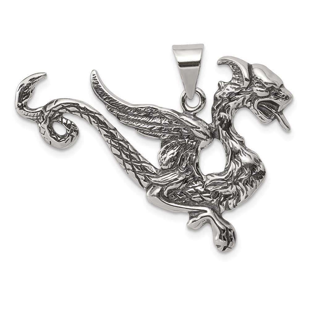 925 Sterling Silver Dragon Pendant Charm Necklace Skull Dagger Man Fine Jewelry For Dad Mens Gifts For Him