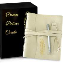 Gilded Imports Leather Journal Notebook With Bookmark Pen Boxed Gift Set – Handmade Genuine Buttery Cream Leather with Gold Embossing – 6 x 8.5 inches. Lined and unlined pages x 200.