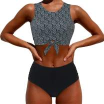 MOOSLOVER Women High Neck Top Knotted Front Tankini Set High Waisted Bathing Suit