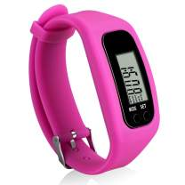 Bomxy Fitness Tracker Watch, Simply Operation Walking Running Pedometer with Calorie Burning and Steps Counting (red-17166)