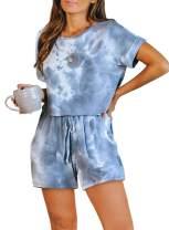 Elapsy Womens Tie Dye Printed Long Pajamas Set Keyhole Short Sleeve PJ Sets Jumpsuit Nightwear Loungewear