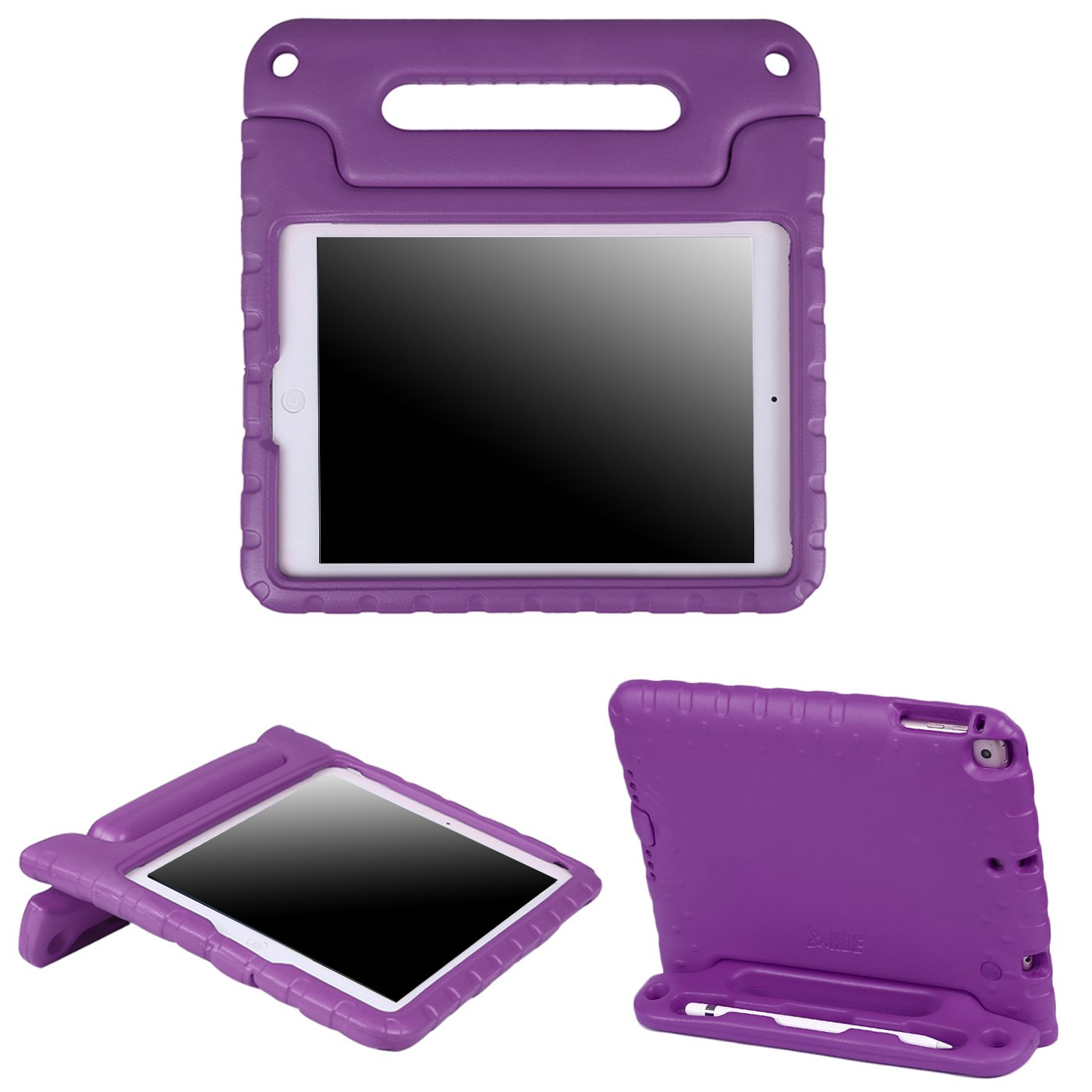 HDE iPad 6th Generation Case for Kids – iPad 9.7 inch 5th and 6th Generation Cases for Kids Shock Proof Protective Light Weight Cover with Handle Stand for Apple iPad 9.7 with Pencil Holder - Purple