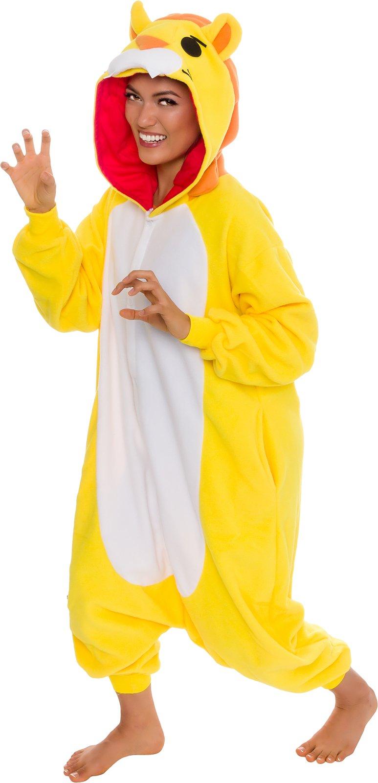 Silver Lilly Unisex Adult Pajamas - Plush One Piece Cosplay Lion Animal Costume