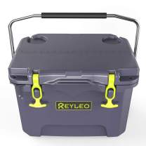 REYLEO Cooler, Ice Chest 30-Can, 21 Quart/20L Rotomolded Cooler, Up to 3-Day Ice Retention, Bear Resistance, Built-in Bottle Opener, Cup Holder, Fishing Ruler, Drain Plug, Fishing Extreme Adventure