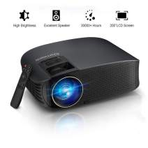 "HD Projector, GBTIGER 4000 lumens LED Video Projector, Full HD 1080P Support, 200"" Display, Compatible with Fire TV Stick PS4 HDMI USB VGA AV with HDMI Cable (YG610-2)"