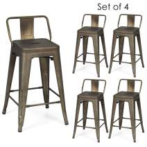 COSTWAY Metal Bar stools Set of 4, with Removable Back, Cafe Side Chairs with Rubber Feet, Stylish and Modern Chairs, for Kitchen, Dining Rooms, and Side Bar (Gun, 24'')