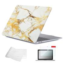 Se7enline New 2018/2019/2020 Mac Book Air Case 13 Inch Plastic Hard Shell Case Keyboard Cover Screen Protector for MacBook Air 13-Inch with Touch ID Version Model A1932/A2179/A2337, White Gold Marble