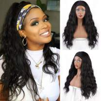 Vigorous Long Wavy Headband Wigs Natural Black Glueless Synthetic Wave Wig with Headband for Women Natural Looking Synthetic wavy Wigs for Daily Use(22 Inches)