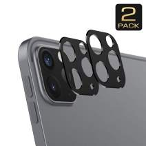 MoKo Camera Lens Screen Protector [2 Pack] Fit iPad Pro 12.9 2020 / iPad Pro 11 2020, Metal Frame Aluminum Alloy Sticker, Scratch-Resistant Plate Panel Back Rear Camera Shield - Black