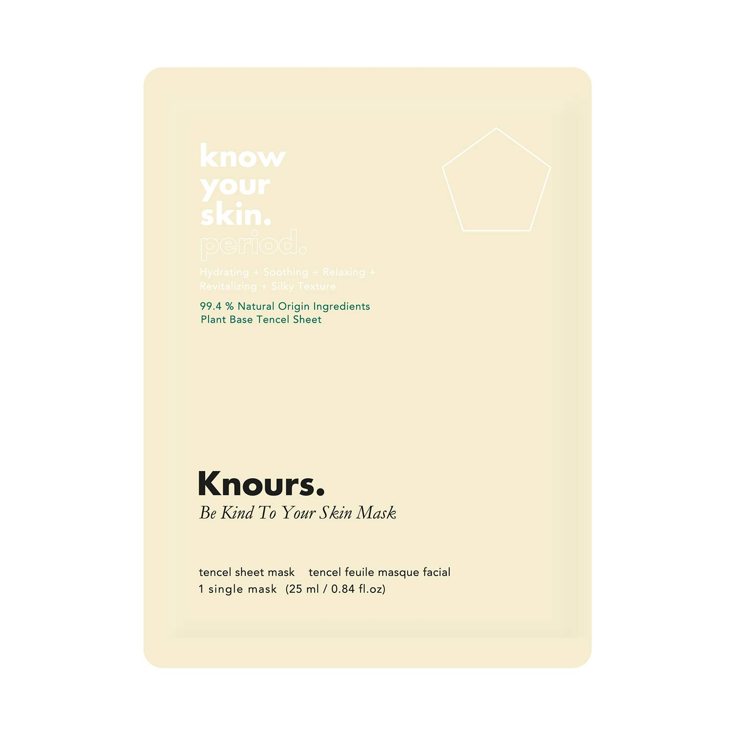 Knours. Be Kind To Your Skin Mask (1ct) | 99% Natural Ingredients Hydrating + Soothing + Revitalizing + Relaxing Effect Facial Nourishing Sheet Mask (EWG Verified Clean Beauty, Cruelty Free, Vegan)