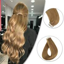 【39.99$ ONLY】Skin Weft Tape in Hair Extensions Color 10 Caramel 18inches Real Human Hair Extensions 50g (2.5g Per Piece,20Pcs)