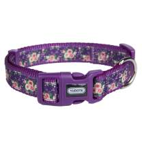 YUDOTE 10 Patterns Spring Summer Scent Floral and Plaid Dog Collars, Adjustable Cute Puppy Collar for Large Medium Small Dogs