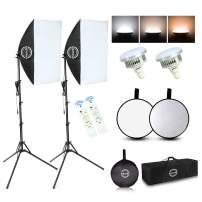 """Maxztill Softbox Lighting Kit, Photography Studio Light with 19""""X27"""" Reflector, 3 Colors Temperature 85W E27 Bulb with Remote, and Light Reflector 2-in-1 for Photo Studio and Take Video"""