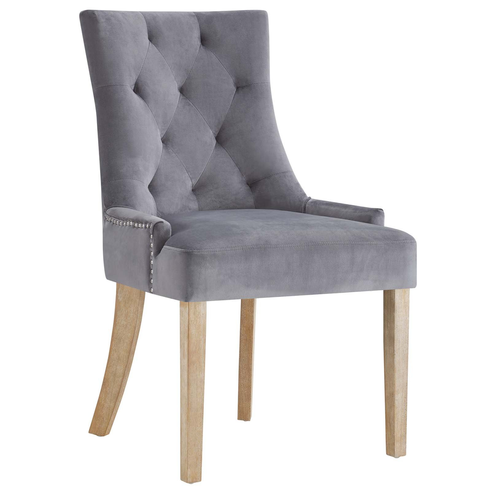 Modway Pose Tufted Performance Velvet Upholstered Dining Chair with Nailhead Trim in Gray