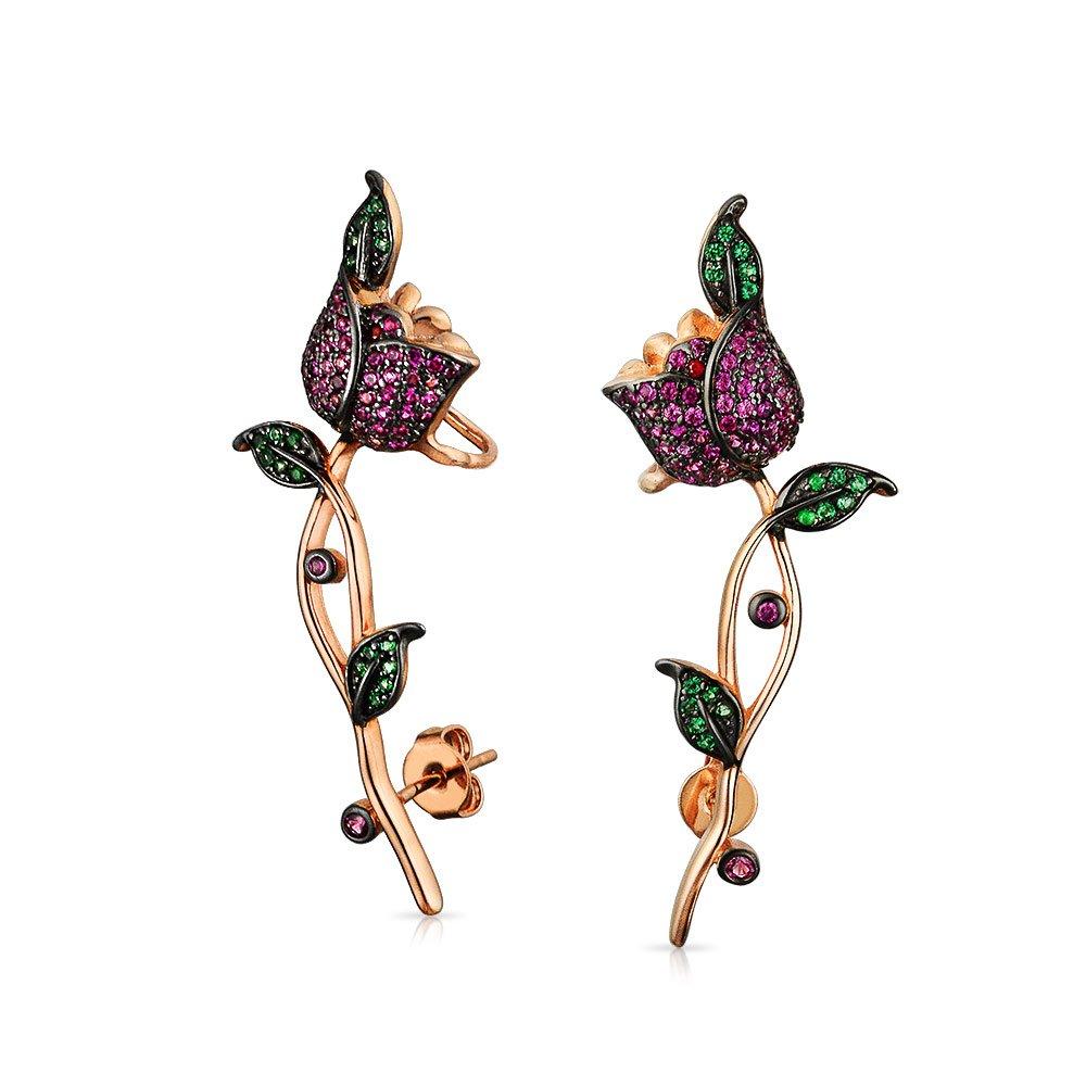 Flower Red Rose Flower Helix Ear Pin Climber Crawler Cartilage Lobe Earrings For Women For Teen Rose Gold Plated Brass