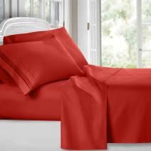 Clara Clark Premier 1800 Collection Deluxe Microfiber 3-Line Bed Sheet Set, T.