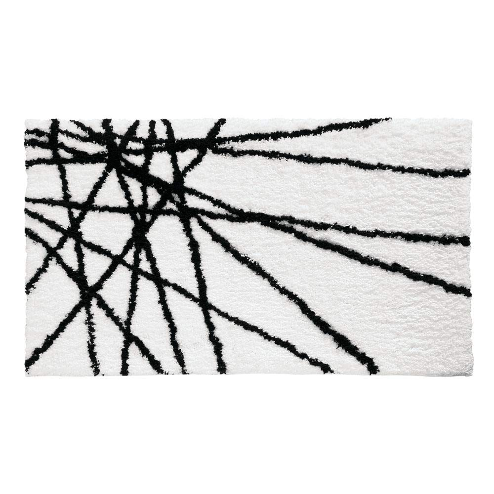 """iDesign Abstract Bath Mat, Machine Washable Microfiber Accent Rug for Bathroom, Kitchen, Bedroom, Office, Kid's Room , 34"""" x 21"""", Black and White"""
