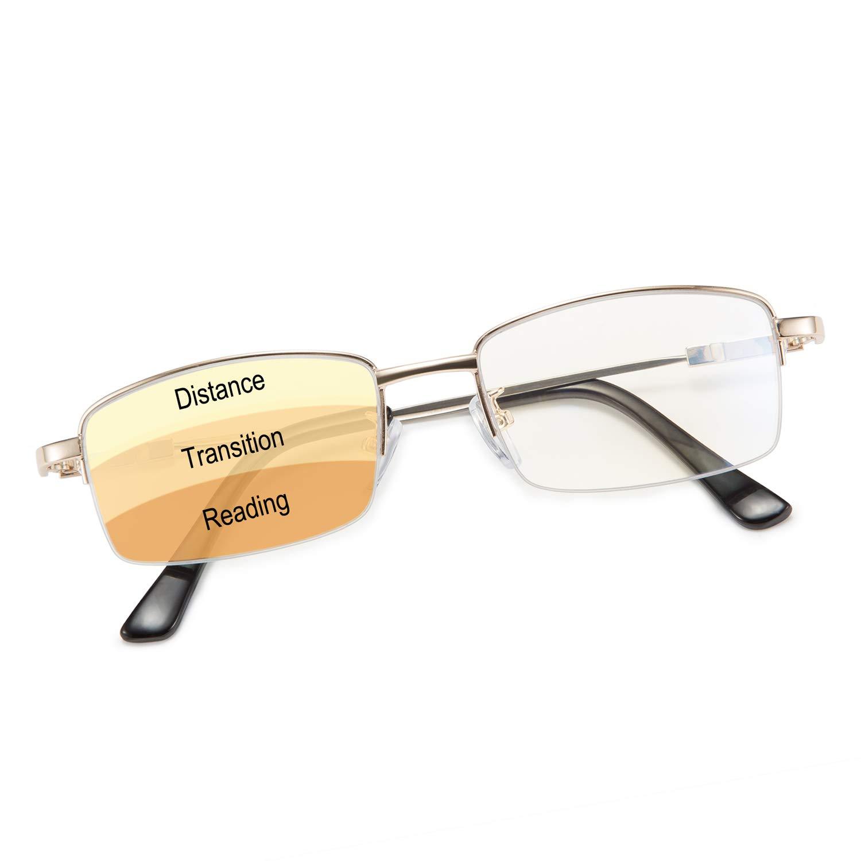 Karsaer Progressive Multifocus Reading Glasses Blue Light Blocking for Women Men No Line Multifocal Computer Readers Memory Titanium Frame