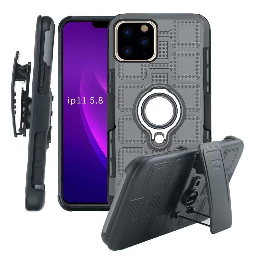Lantier High Impact 3 Layer Hybrid Full Shockproof Armor Rugged Holster Protection Case with Kickstand Magnet 360 Degree Rotating Ring Belt Swivel Clip for iPhone 11 Pro 5.8 Inch (2019) Grey