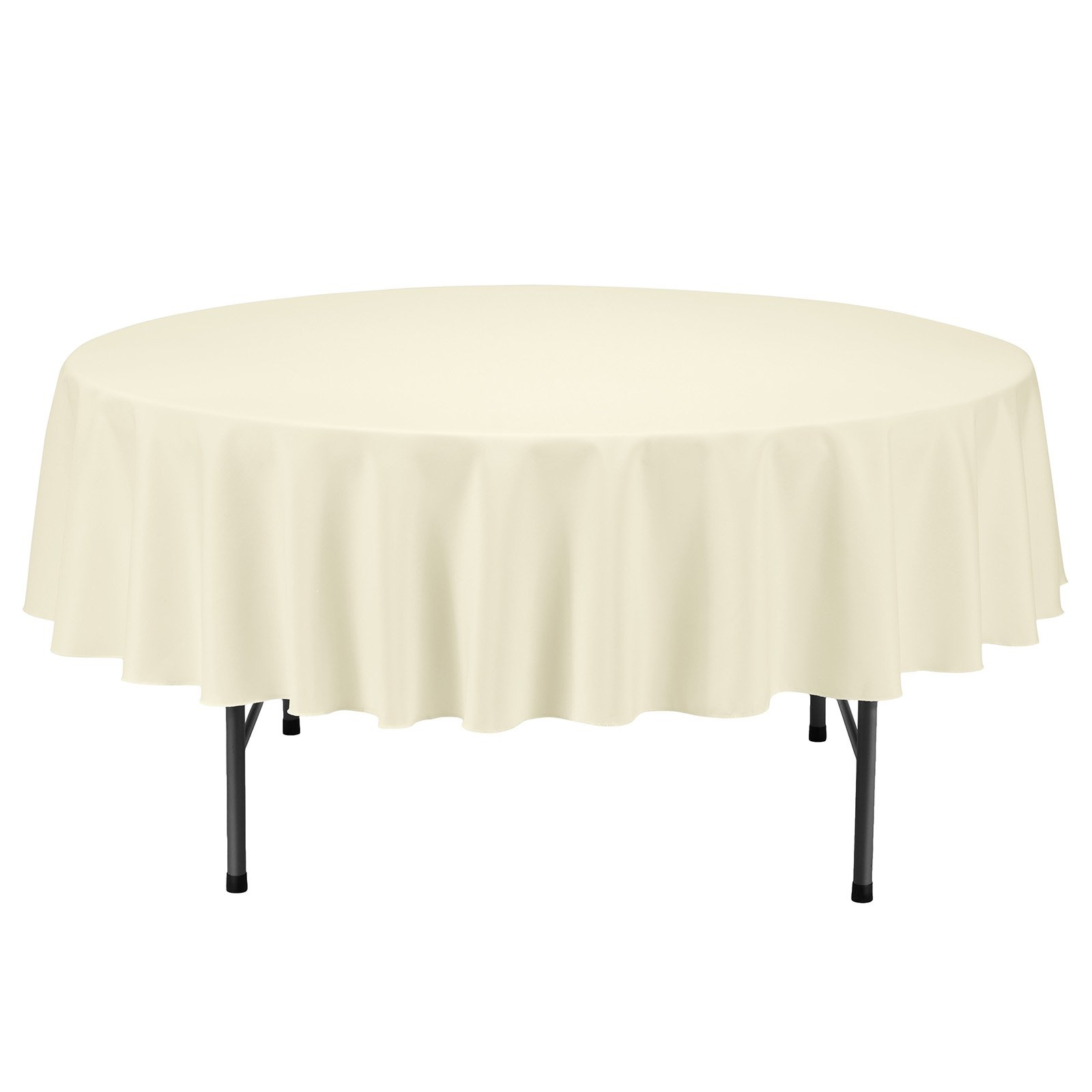 Remedios Round Tablecloth Solid Color Polyester Table Cloth for Bridal Shower Wedding Table – Wrinkle Free Dinner Tablecloth for Restaurant Party Banquet (Light Yellow, 70 inch)
