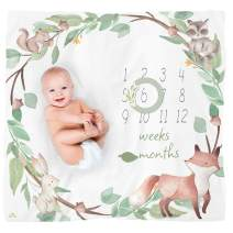 Itzy Ritzy Muslin Milestone Blanket Set; Includes One Blanket and Two Date Markers; Capture Weekly and Monthly Infant Milestones, Woodland Animals