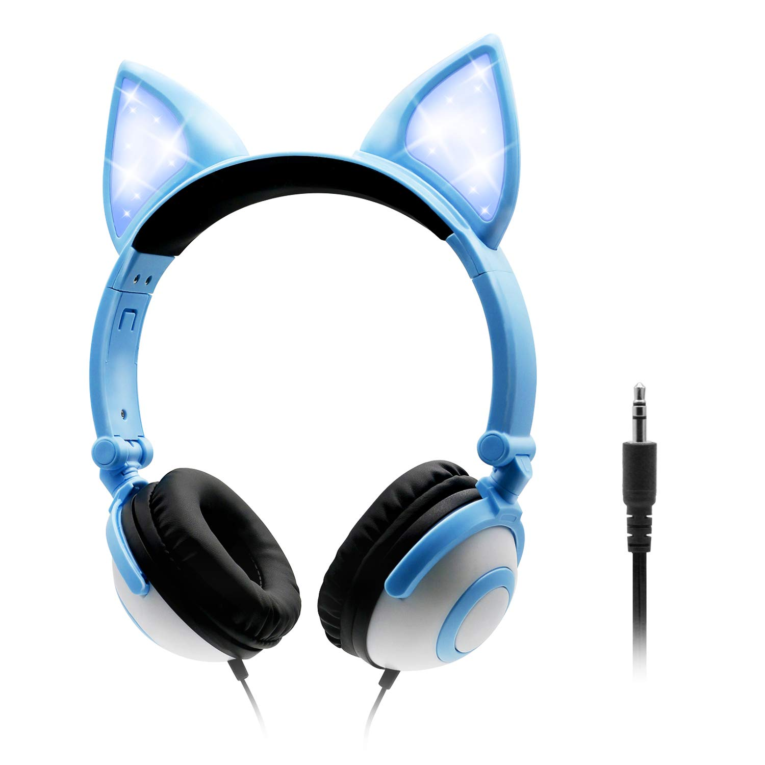 ONTA Kids Headphones with Cute LED Glowing Cat Ears,Foldable, Noise-Canceling and Adjustable Toddlers Headphones for Boys and Girls (Blue)