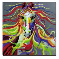 3Hdeko-Horse Oil Painting on Canvas 30x30inch Colorful Wild Animal Modern Wall Art Home Decoration for Bed Room,Stretched- Ready to hang!