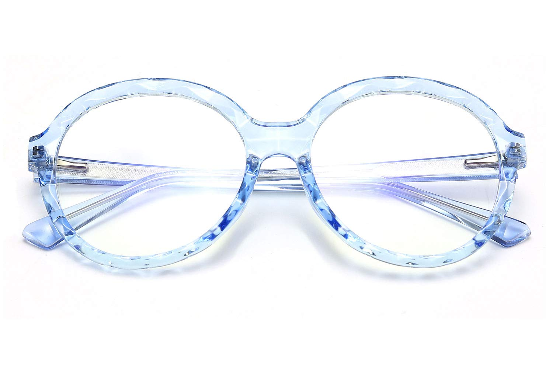 FEISEDY Round Oversized Blue Light Blocking Glasses TR90 Computer Eyeglasses Transparent Crystal Frame B2578