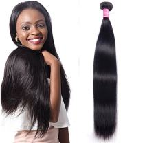 "Brazilian Human Hair Straight Hair (1 Bundles of 20"") Unprocessed Virgin Brazilian Straight Hair Extensions Natural Color Weave Bundles 100grams"