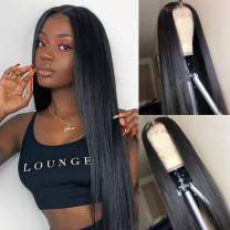Abijale Lace Front Wigs Human Hair Straight Hair For Black Women Brazilian Unprocessed Virgin Human Hair Natural Black Pre-Plucked With Baby Hair (18 inch, 13X4 straight)