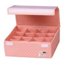 HOMESGU Foldable Adjustable Bra Underwear Storage Box,Closet Organizer Drawer Divider Kit (16-Grid(Space Adjusted Freely 32×32×12cm), Dot Pink)