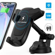 Wireless Car Charger Phone Mount - Quntis 7.5W/10W Qi Fast Charging Dashboard Windshield Phone Holder Compatible with iPhone 11 Pro Max XS Max XR X 8 Plus, SamsungNote 10 S10 S9 Plus and More, Black