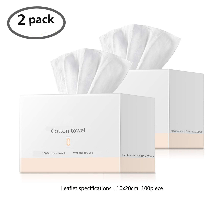 Facial Cotton Tissue Cotton Soft Towel 100% Natural Cotton Multi-Purpose Cleaning Face Towel Removable Face Towels Wipes Dry Wet Amphibious 100Pcs 3.9 * 7.9inch 2 Packs
