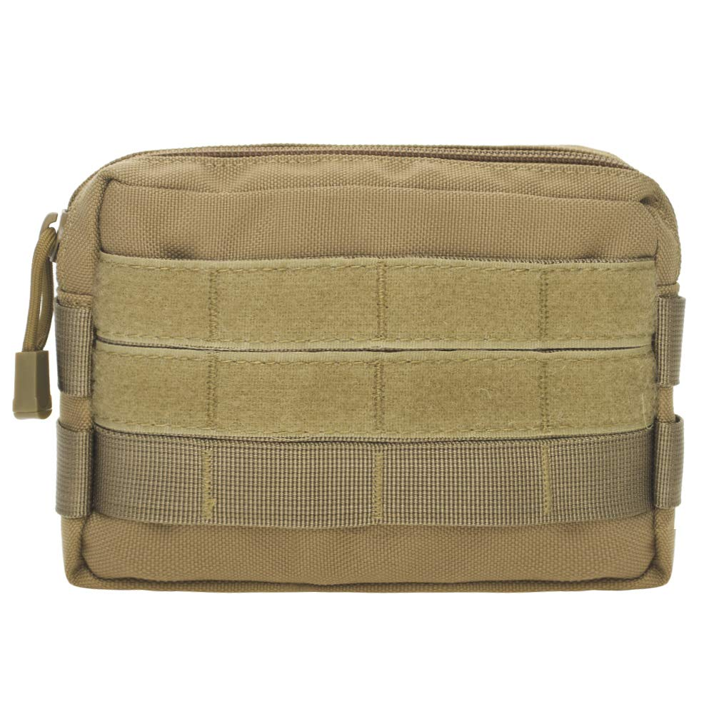 TOPTIE Tactical Molle Pouch, Horizontal Admin Pouch Small Utility EDC Gear Tool Bag, 2 American Flag Patches Optional
