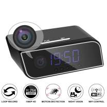 YASSUN Spy Clock Camera, 1080p VCR Wi-Fi IP Wireless Hidden Camera, for Indoor Real-Time Security Monitoring, Motion Detection Clock Camera