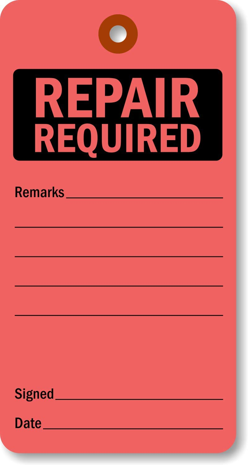 "SmartSign ""Repair Required"" Pack of 100 Tags 
