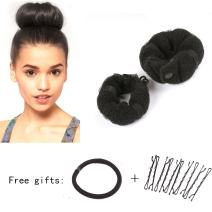 Sent Hair 2 Pieces Donut Hair Bun Maker Black Magic Easy Using Hairdisk Former Ring Hair Buns for Kids and Adults (Small,Large)