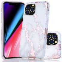 BAISRKE iPhone 11 Pro Case, Shiny Rose Gold Marble Design Bumper Matte TPU Soft Rubber Silicone Cover Phone Case for iPhone 11 Pro 5.8 inch 2019 - White Marble