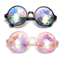 SLTY Round Kaleidoscope Goggles Rainbow Sunglasses Rave Party Festival Glasses