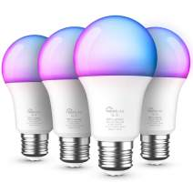 Smart Bulb 4 Pack, Treatlife Color Changing Light Bulb Dimmable Multicolor and White LED Bulb, Works with Alexa, Google Home, A19 E26 9W (60W Equivalent) 800 Lumen, No Hub Required, Smart Home Lights