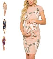 DDSOL Maternity Dress Bodycon Floral Ruched Sides Baby Shower Dresses